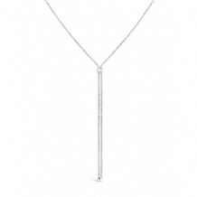 Rhodium Plated Lariat Slide Chain Necklace Set with Crystals Chain